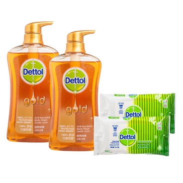 DETTOL - Gold Anti Bacterial Body Wash twinpack With Premium classic Clean - 625GX2+10'SX2