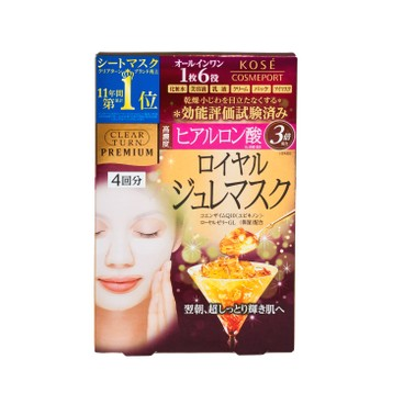 KOSE - Clear Turn Premium Royal Jelly Mask hyaluronic Acid - 4'S