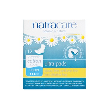 NATRACARE - Ultra Pads With Wings super 26 cm Individually Wrapped - 12'S