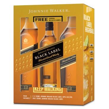 JOHNNIE WALKER - GIFT BOX-BLACK LABEL WHISKY BONUS PACK - 70CLX2+20CL