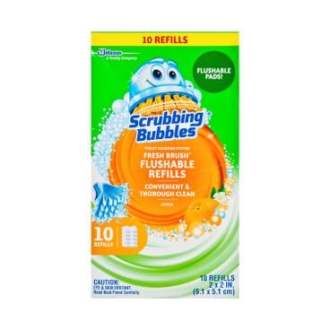 SCRUBBING BUBBLES - FRESH BRUSH®即用即棄可沖走清潔廁所刷補充裝 - 10'S