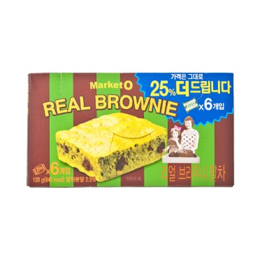 ORION - MARKET O REAL BROWNIE CHOCOLATE CAKE-MATCHA (VALUE PACK) - 20GX6