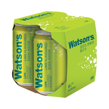 WATSONS - Lime Flavoured Soda Water - 330MLX4