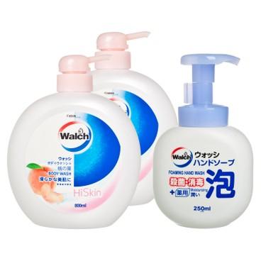 威露士 - 美膚淨透沐浴露-桃葉(孖裝)送滋潤泡沫洗手液 - 800MLX2+250ML