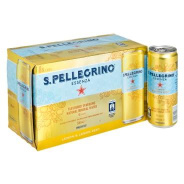聖沛黎洛 - 有氣天然礦泉水-檸檬味 - 330MLX8