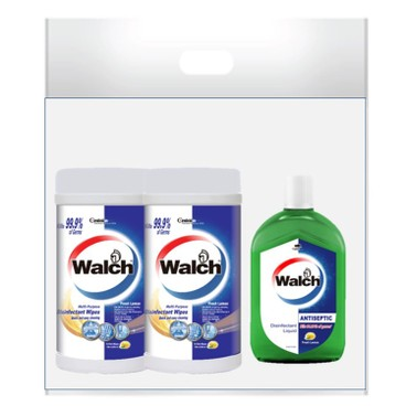 WALCH - Disinfectant Wipes Fresh Lemon Twin Pack Free Antiseptic Disinfectant Liquid Lemon - 75'SX2+330ML