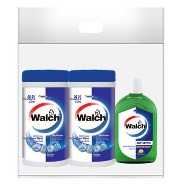 WALCH - Disinfectant Wipes Fresh High Efficacy Twin Pack Free Antiseptic Disinfectant Liquid Lemon - 75'SX2+330ML