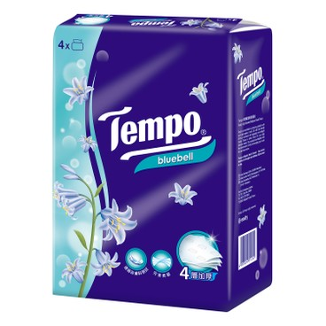 TEMPO - 4 ply Bluebell Softpack Facial Tissue - 4'S