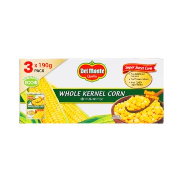 DEL MONTE - Whole Kernel Corn 3 In 1 Tetra Pack - 190GX3