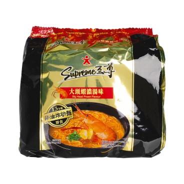 公仔 - 至尊非油炸幼麵-大頭蝦濃湯味 - 90GX5