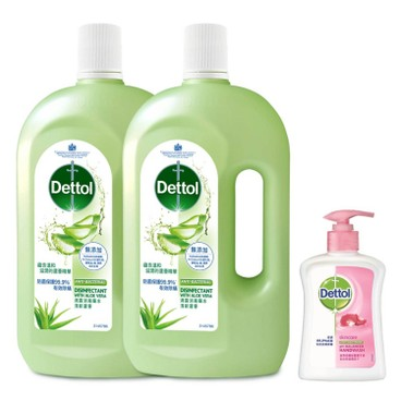 DETTOL - Antiseptic Liquid Aloe Vera Twin Pack Free Hand Wash - 1LX2+250G