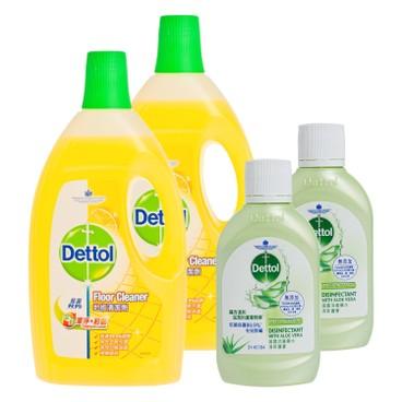 滴露 - 全效潔淨殺菌地板清潔劑-檸檬(孖裝)送消毒藥水清新蘆薈 - 2LX2+80MLX2