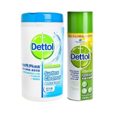 滴露 - 消毒清潔濕紙巾及殺菌消毒噴霧(清新香味)-套裝 - 80'S+450ML