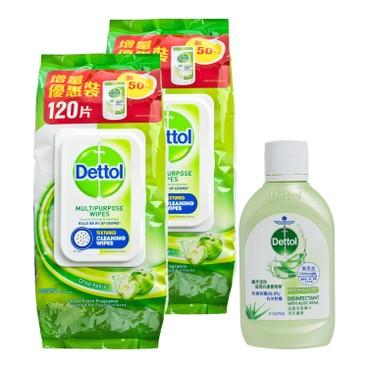 滴露 - 消毒清潔濕紙巾青蘋果味(孖裝)送消毒藥水-清新蘆薈 - 120'SX2+80ML