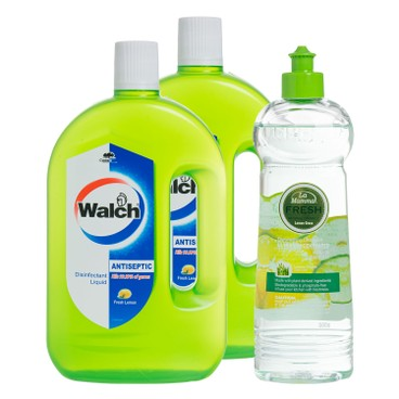 WALCH - Antiseptic Disinfectant Liquid Lemon Twin Pack Freelamama Dishwashing Detergent - 1LX2+500G