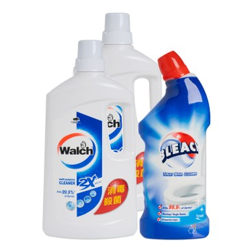WALCH - Muti Purp Cleaner Orginal Twin Pack Free Bleach Toilet Bowl Cleaner Fresh - 1.25LX2+600ML