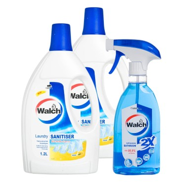 WALCH - Laundry Sanitiser Lemon Twin Pack Free Multi Purpose Bathroom Cleaner - 1.2LX2+500ML