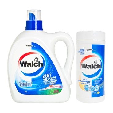 WALCH - Anti bacterial Laundry Detergent Pine disinfectant Wipes fresh Lemon - 3L+42'S