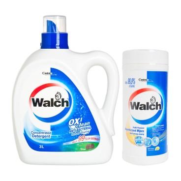 威露士 - 消毒洗衣液-松木送消毒濕紙巾-檸檬 - 3L+42'S