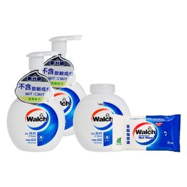 威露士 - 泡沫殺菌潔手液(孖裝)連補充裝-潤膚配方送消毒濕巾蘆薈袋裝 - 280MLX3+10'S