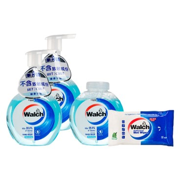 WALCH - Antibacterial Foaming Hand Wash twinpack With Refill refreshing Free Wet Wipes - 280MLX3+10'S