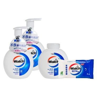 WALCH - Antibacterial Foaming Hand Wash twinpack With Refill sensitive Free Wet Wipes - 280MLX3+10'S