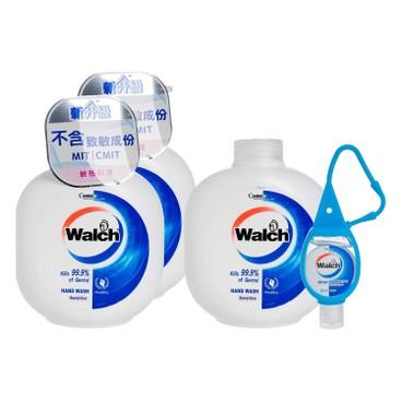 WALCH - Hand Wash Gel twinpack With Refill sensitive Free Hand Sanitizer - 450MLX3+20ML
