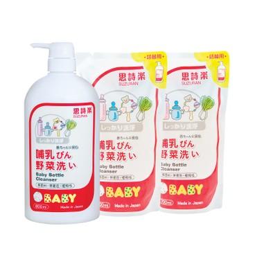 SUZURAN - Baby Bottle Cleanser Refill twin Pack Set - 800ML+700MLX2