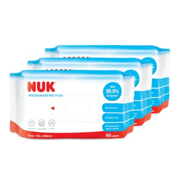 NUK - Anti Bacterical Wet Wipes 套裝 - 80'SX3