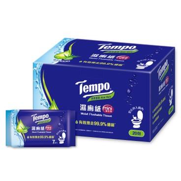 TEMPO 濕廁紙-清爽蘆薈味-迷你裝 7'SX20