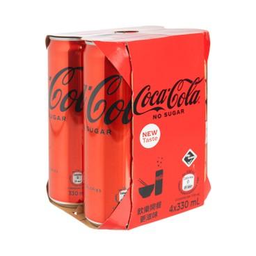 COCA-COLA - NO SUGAR COKE -TALL CAN - 330MLX4
