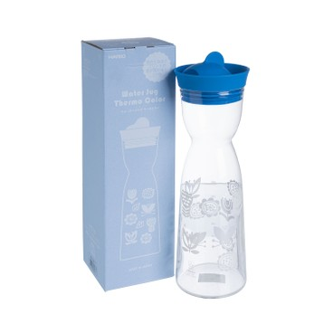 HARIO - GLASS WATER JUG THERMO- BLUE - 1L