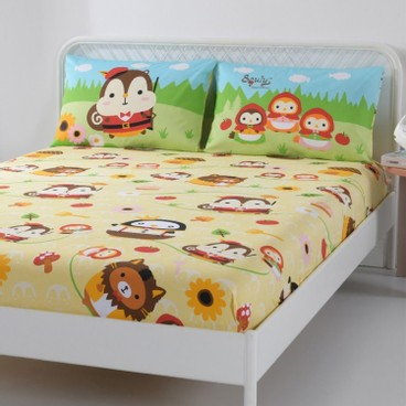 CASABLANCA - SQULY & FRIENDS CARTOON COTTON SERIES FITTED SHEET & PILLOW CASE SET - SINGLE - PC