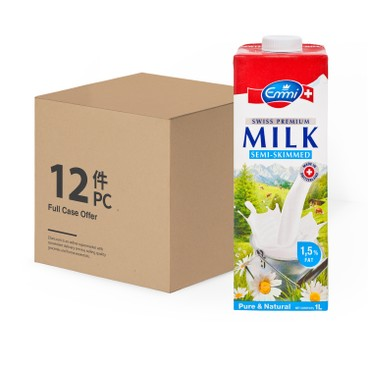 EMMI - Swiss Premium Semi skimmed Milk - 1LX12