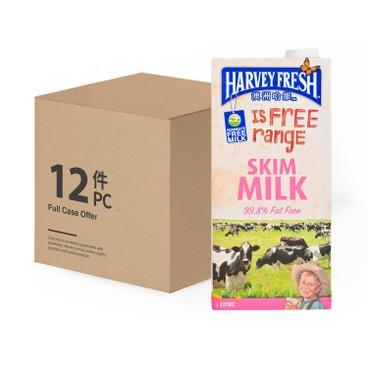 澳洲哈維 - 脫脂牛奶-原箱 - 1LX12
