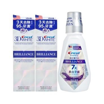 CREST - 3D閃亮白牙膏+專業美白漱口水(清新薄荷)套裝 - 116GX2+500ML