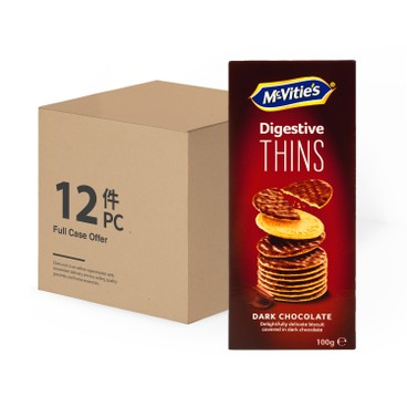 MCVITIE'S - Case Offer thins Dark Chocolate - 100GX12