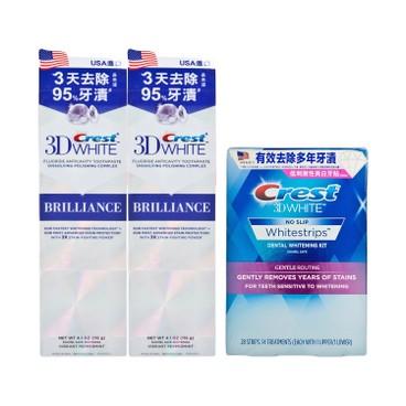CREST - 3D WHITE溫和美白牙貼(敏感牙齒適用)+3D閃亮白牙膏套裝 - 28'S+116GX2