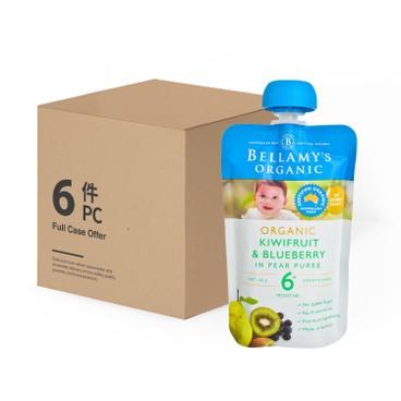 BELLAMY'S ORGANIC - Organic Kiwifruit Blueberry In Pear Puree Case - 120GX6