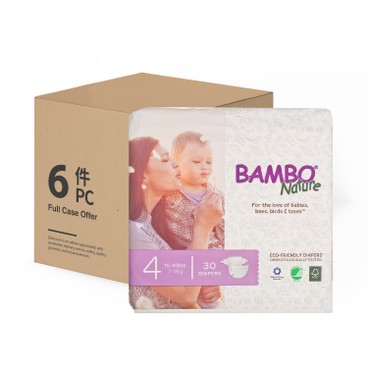 BAMBO NATURE - RASH FREE ECO BABY DIAPERS M 7-18 KG - CASE - 30'SX6