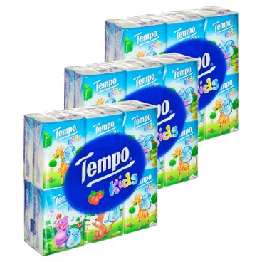 TEMPO - 兒童版迷你紙手巾-士多啤梨味 - 3件裝 - 12'SX3