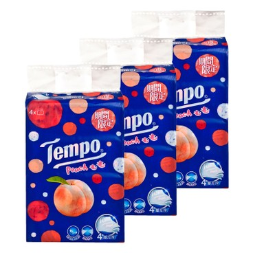 TEMPO - 4 ply Softpack Facial Tissue Fuzzy Peach Limited Edition 3 pc - 4'SX3