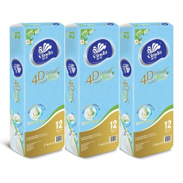 VINDA - 4 d Deluxe Botanical Care Bathroom Tissue 3 pc - 12'SX3