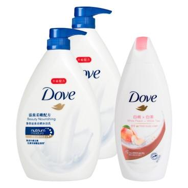 多芬 - 滋養柔嫩配方沐浴乳送白桃及白茶沐浴乳套裝 - 1LX2+200G