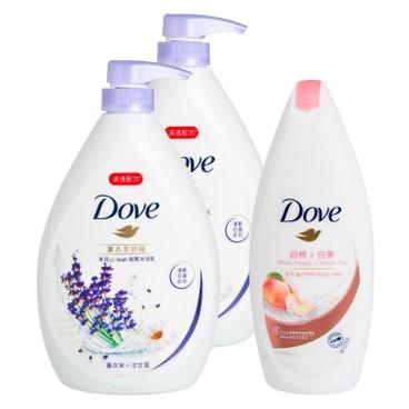 DOVE - Lavender Hydration Body Wash Free White Peach Body Wash Bundle - 1LX2+200G