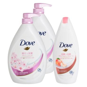 多芬 - 櫻花香氛沐浴乳送白桃及白茶沐浴乳套裝 - 1LX2+200G