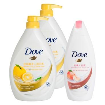 多芬 - 活力柚香沐浴乳送白桃及白茶沐浴乳套裝 - 1LX2+200G