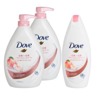多芬 - 桃悅水透沐浴乳送白桃及白茶沐浴乳套裝 - 1LX2+200G
