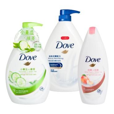 多芬 - 滋養柔嫩及清爽水嫩沐浴乳送白桃及白茶沐浴乳套裝 - 1LX2+200G