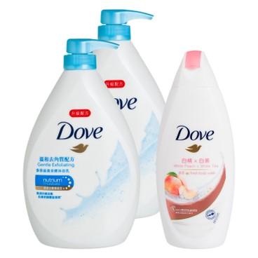 多芬 - 滋養柔膚溫和去角質配方沐浴乳送白桃及白茶沐浴乳套裝 - 1LX2+200G